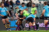 SYDNEY, NSW - MAY 19: Waratahs player Kurtley Beale rips the ball out of Highlanders player Sio Tomkinson hands at week 14 of the Super Rugby between The Waratahs and Highlanders at Allianz Stadium in Sydney on May 19, 2018. (Photo by Speed Media/Icon Sportswire)