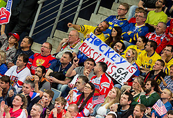 Fans of Russia during Ice Hockey match between USA and Russia at Semifinals of 2015 IIHF World Championship, on May 16, 2015 in O2 Arena, Prague, Czech Republic. Photo by Vid Ponikvar / Sportida