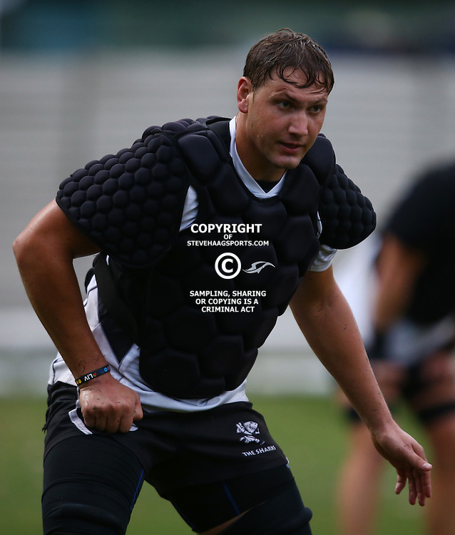 DURBAN, SOUTH AFRICA, 8 ,MARCH, 2016 - Etienne Oosthuizen during The Cell C Sharks training session  at Growthpoint Kings Park in Durban, South Africa. (Photo by Steve Haag)<br /> <br /> images for social media must have consent from Steve Haag