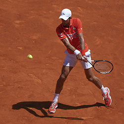 May 9, 2019 - Madrid, Spain - Novak Djokovic of Serbia against Jeremy Chardy of France during day six of the Mutua Madrid Open at La Caja Magica on May 09, 2019 in Madrid, Spain  (Credit Image: © Oscar Gonzalez/NurPhoto via ZUMA Press)