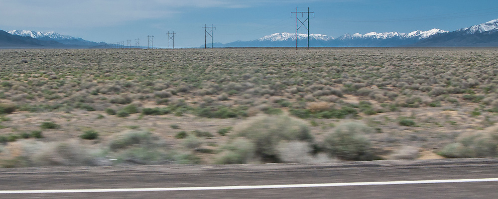 Powerline crosses the desert along US 50 in Nevada with the Toiyabe Mountain Range on the right