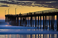 Sunset and Cayucos Pier, Cayucos, San Luis Obisbo County, California