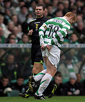 Photo: Paul Thomas.<br /> Glasgow Celtic v Glasgow Rangers. Bank of Scotland Scottish Premier League. 11/03/2007.c<br /> <br /> Captain Neil Lennon of Celtic holds his arse in the direction of the Ranger fans.