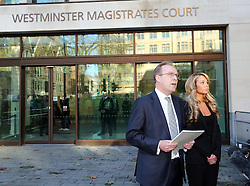 Tulisa Contostavlos outside Westminster Magistrates Court in London as her lawyer reads out a statement Thursday, 19th December 2013. Picture by Stephen Lock / i-Images