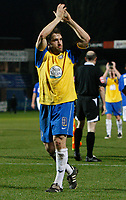 Photo: Steve Bond/Sportsbeat Images.<br />Macclesfield Town v Hereford United. Coca Cola League 2. 26/12/2007. Hereford skipper Ben Smith applauds the travelling support