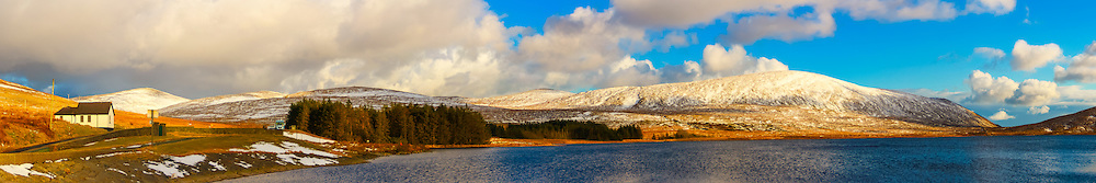 View overlooking Spelga Reservoir from the North car park including, from left, Slievenamuck, Slieve Loughshannagh, Ott Mountain, Carn Mountain and Slieve Muck with a lovely covering of snow.<br />