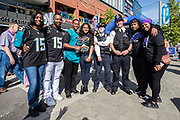 Jacksonville Jaguars fans pose with the police outside wembley during the International Series match between Baltimore Ravens and Jacksonville Jaguars at Wembley Stadium, London, England on 24 September 2017. Photo by Jason Brown.