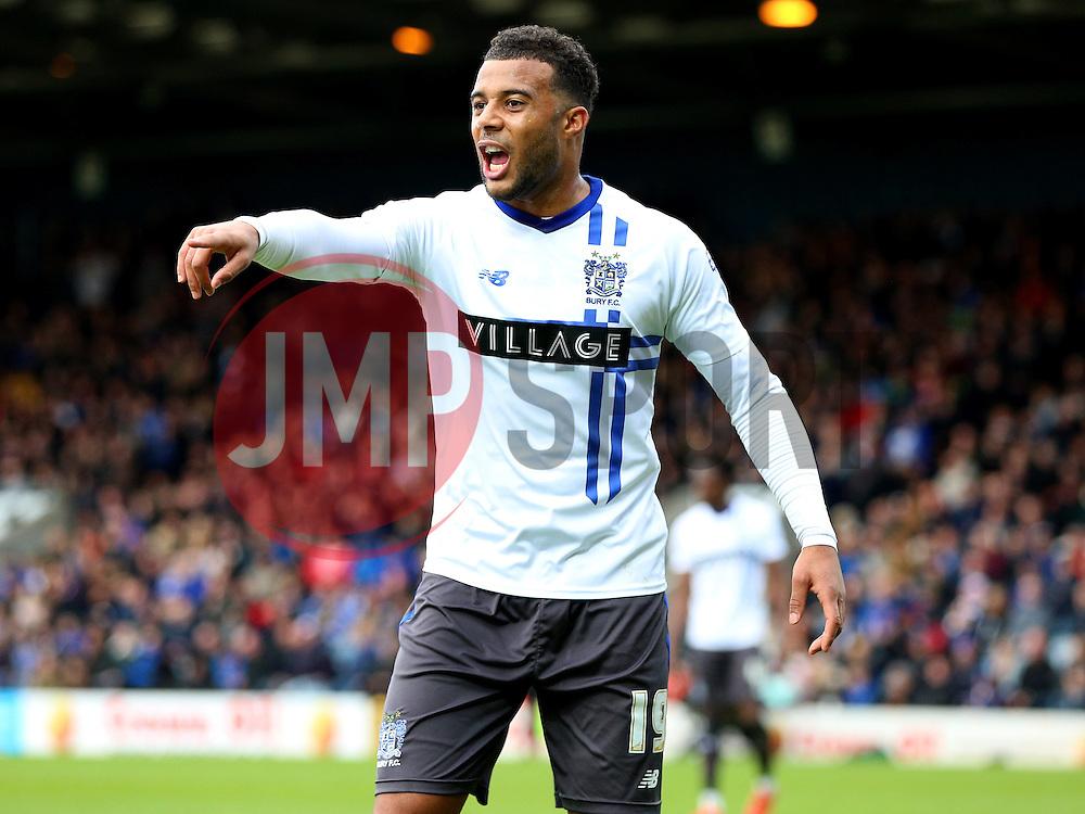 Tom Soares of Bury shouts - Mandatory byline: Matt McNulty/JMP - 06/12/2015 - Football - Spotland Stadium - Rochdale, England - Rochdale v Bury - FA Cup
