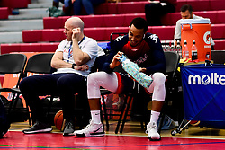Gentry Thomas of Bristol Flyers receives a present from a fan for his birthday - Photo mandatory by-line: Ryan Hiscott/JMP - 06/12/2019 - BASKETBALL - SGS Wise Arena - Bristol, England - Bristol Flyers v Sheffield Sharks - British Basketball League Championship
