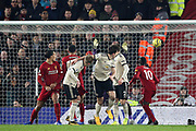 Liverpool defender Virgil van Dijk (4) scores a goal 1-0  during the Premier League match between Liverpool and Manchester United at Anfield, Liverpool, England on 19 January 2020.