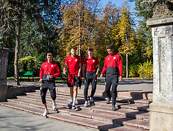 CHISINAU, MOLDOVA - Thursday, October 10, 2019: (L-R) Wales' Joe Lewis, Brandon Cooper, Dylan Levitt, and Brennan Johnson during a team walk in Chisinau ahead of the UEFA Under-21 Championship Italy 2019 Qualifying Group 9 match between Moldova and Wales. (Pic by Kunjan Malde/Propaganda)