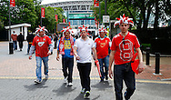 Sholing fans before the FA Vase match at Wembley Stadium, London<br /> Picture by David Horn/Focus Images Ltd +44 7545 970036<br /> 10/05/2014