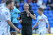 Adrian Holmes (Referee) during the Vanarama National League match between Tranmere Rovers and Grimsby Town FC at Prenton Park, Birkenhead, England on 30 April 2016. Photo by Mark P Doherty.