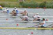 Eton Dorney, Windsor, Great Britain,..2012 London Olympic Regatta, Dorney Lake. Eton Rowing Centre, Berkshire[ Rowing]...Description;  Heat, Men's double Sculls: NZL M2X..Nathan COHEN (b) , Joseph SULLIVAN (s).ITA M2X   Alessio SARTORI (b) , Romano BATTISTI (s).GER.M2X Eric KNITTEL (b) , Stephan KRUEGER (s).AUS.David CRAWSHAY (b) , Scott BRENNAN (s).Dorney Lake. 12:20:07  Tuesday  31/07/2012.  [Mandatory Credit: Peter Spurrier/Intersport Images].Dorney Lake, Eton, Great Britain...Venue, Rowing, 2012 London Olympic Regatta...