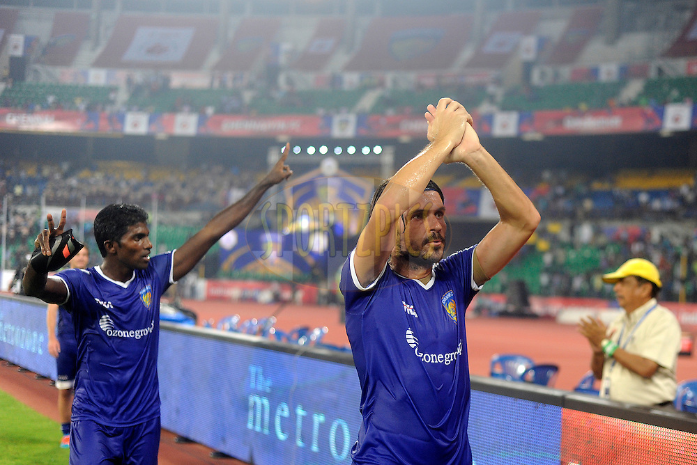 Bojan Djordjic of Chennaiyin FC greets the crowd after winning match 15 of the Hero Indian Super League between Chennaiyin FC and Mumbai City FC held at the Jawaharlal Nehru Stadium, Chennai, India on the 28th October 2014.<br /> <br /> Photo by:  Pal Pillai/ ISL/ SPORTZPICS