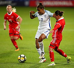 Nikita Parris of England takes on Elvira Ziyastinova of Russia - Mandatory by-line: Matt McNulty/JMP - 19/09/2017 - FOOTBALL - Prenton Park - Birkenhead, United Kingdom - England v Russia - FIFA Women's World Cup Qualifier
