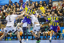 Zarabec Miha #23 of RK Celje Pivovarna Lasko & Mackovsek Borut #51 of RK Celje Pivovarna Lasko during handball match between RK Celje Pivovarna Lasko (SLO) and IFK Kristianstad (SWE) in Group phase of EHF Men's Champions League 2016/17, on February 11, 2017 in Arena Zlatorog, Celje, Slovenia. Photo by Grega Valancic