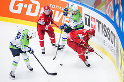 Ziga Jeglic of Slovenia, Nikita Ustinenko of Belarus, Robert Sabolic of Slovenia and Ilya Shinkevich of Belarus during Ice Hockey match between Belarus and Slovenia at Day 2 in Group B of 2015 IIHF World Championship, on May 2, 2015 in CEZ Arena, Ostrava, Czech Republic. Photo by Vid Ponikvar / Sportida