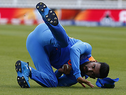 May 25, 2019 - London, England, United Kingdom - KL Rahul of India caught Martin Guptill of New Zealand and bowled by Hardik Pandya of India.during ICC World Cup - Warm - Up between India and New Zealand at the Oval Stadium , London,  on 25 May 2019. (Credit Image: © Action Foto Sport/NurPhoto via ZUMA Press)