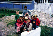 Woman and children in village rural countryside area, Romania, eastern Europe 1967