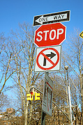Stacked street signs