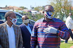JOHANNESBURG, SOUTH AFRICA - MAY 08: Gauteng Health MEC Dr Bandile Masuku and Gauteng Premier David Makhura visit a Diepsloot COVID-19 screening and testing site at Diepsloot Sarafina Park on May 08, 2020 in Johannesburg, South Africa. Reports claim that in Diepsloot more than 12 000 people have been screened with over 1000 people tested. The Premier urged the people of Diepsloot to continue practicing safety measures including social distancing and wearing cloth masks when leaving home. (Photo by Dino Lloyd)