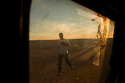 Salah Ameidan training in Samara, one of the Sahrawi refugee camps in southwestern Algeria, before the annual Sahara Marathon.