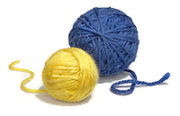 blue and yellow yarn balls