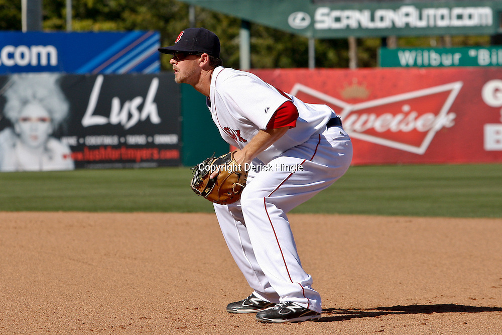 March 12, 2011; Fort Myers, FL, USA; Boston Red Sox first baseman Drew Sutton (70) during a spring training exhibition game Florida Marlins at City of Palms Park. The Red Sox defeated the Marlins 9-2.  Mandatory Credit: Derick E. Hingle