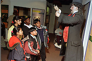 Year 6 pupils listening to the claims of a patent medicine salesman at the Thackray Medical Museum in Leeds....