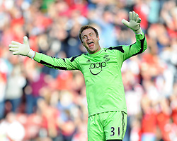 Southampton's Artur Boruc celebrates after  Southampton's Jay Rodriguez scores the second goal of the game.- Photo mandatory by-line: Alex James/JMP - Tel: Mobile: 07966 386802 05/10/2013 - SPORT - FOOTBALL - St Mary's Stadium - Southampton - Southampton V Swansea City - Aviva Premiership