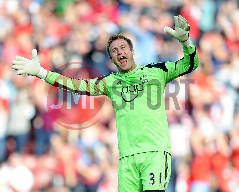 Southampton's Artur Boruc celebrates after  Southampton's Jay Rodriguez scores the second goal of the game.- Photo mandatory by-line: Alex James/JMP - Tel: Mobile: 07966 386802 05/10/2013 - SPORT - FOOTBALL - St Mary's Stadium - Southampton - Southampton V Swansea City - Aviva Premiership