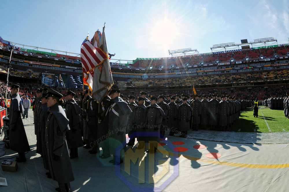 10 December 2011:   The Army Black Knights Corps of Cadets march on to the field prior to the game against the Navy Midshipmen at Fed Ex field in Landover, Md. in the 112th annual Army Navy game where Navy defeated Army, 27-21 for the 10th consecutive time..