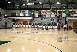 20 February 2016:  national anthem during an NCAA women's basketball game between the Elmhurst Bluejays and the Illinois Wesleyan Titans in Shirk Center, Bloomington IL
