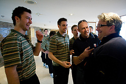 Sabahudin Kovacevic, Ziga Pance, Ales Music, Andrej Hebar st. and Diko Stevic at meeting of Slovenian Ice-Hockey National team, on April 15, 2010, in Hotel Lev, Ljubljana, Slovenia.  (Photo by Vid Ponikvar / Sportida)