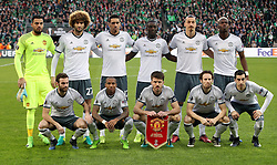 Manchester United players pose for a photograph before kick-off