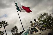 Mexican soldiers leave the barracks to patrol the streets of Tijuana, Mexico.<br /> Spanish: Soldados mexicanos se preparan para salir del cuartel para realizar sus patrullajes en las calles de Tijuana, M&eacute;xico.