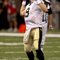 August 21, 2010; New Orleans, LA, USA; New Orleans Saints quarterback Drew Brees (9) passes during the first quarter of a preseason game against the Houston Texans at the Louisiana Superdome. Mandatory Credit: Derick E. Hingle