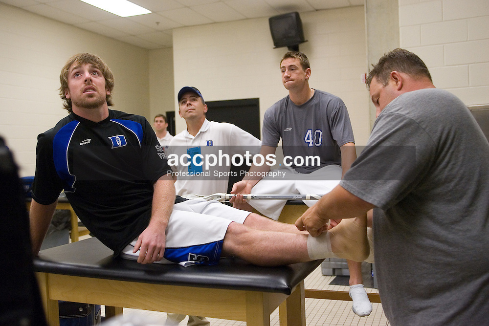 26 May 2007: Duke Blue Devils midfielder Peter Lamade (5) in the locker room before the NCAA semifinals to take on the Cornell Big Red at M&T Bank Stadium in Baltimore, MD.