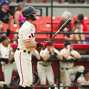15 April 2018: San Diego State infielder David Hensley (22) hits a lead off home run in the bottom of the third inning to give the Aztecs a 4-2 lead over the Titans. The San Diego State baseball team closed out the weekend series against Cal State Fullerton with a 9-6 win at Tony Gwynn Stadium. <br /> More game action at sdsuaztecphotos.com