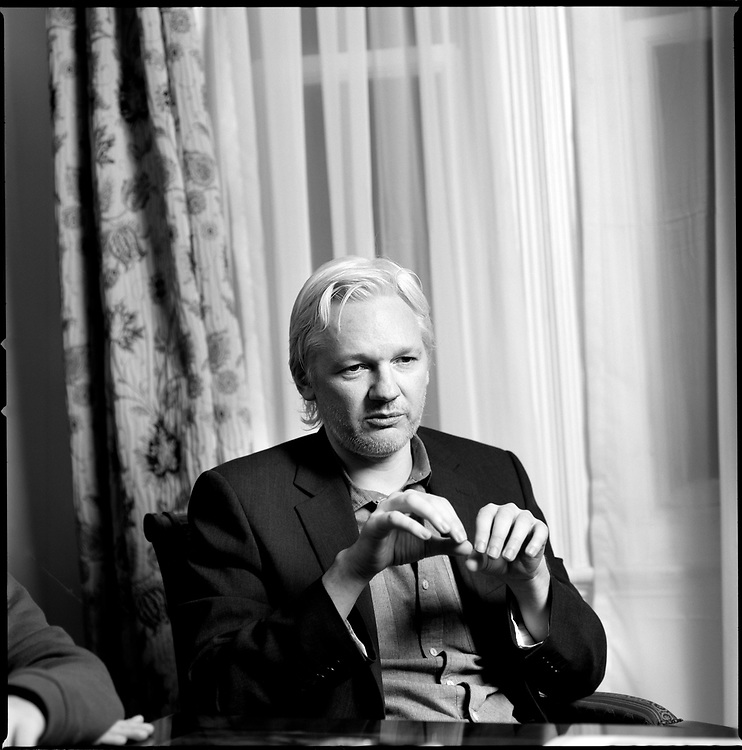 Julian Assange, former editor-in-chief and founder of WikiLeaks, photographed inside Ecuador's embassy in London. He has been granted diplomatic asylum in Ecuador but if he leaves the London embassy he will be arrested by the British police who have vowed to deport him to Sweden where he is wanted in connection with an alleged sex crime.
