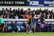 Brighton & Hove Albion central midfielder Dale Stephens (6) is shown a red card, sent off during the EFL Sky Bet Championship match between Ipswich Town and Brighton and Hove Albion at Portman Road, Ipswich, England on 27 September 2016.