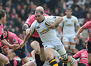 Watford, GREAT BRITAIN, Wasps' Raphael IBNANZ, breaking through Paul GUSTARD's tackle to go on and score the second try of the Guinness Premiership game, Saracens vs London Wasps. 20.04.2008 [Mandatory Credit Peter Spurrier/Intersport Images]