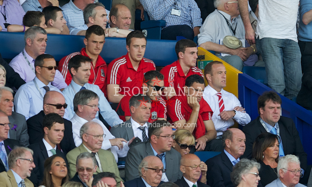 LIVERPOOL, ENGLAND - Saturday, October 1, 2011: Liverpool players goalkeeper Martin Hansen, Danny Wilson, Jack Robinson, Maximiliano Ruben Maxi Rodriguez and Fabio Aurelio watch from the Everton Directors' Box during the Premiership match at Goodison Park. (Pic by David Rawcliffe/Propaganda)