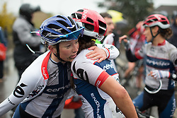 Lotta Lepistö (FIN) thanks her Cervélo-Bigla Cycling Team team mate, Carmen Small (USA) for her hard work after the first, 106.9km road race stage of Elsy Jacobs - a stage race in Luxembourg, in Steinfort on April 30, 2016