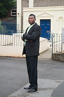 Gary McFarlane, couple counsellor and sex therapist photographed in front of Stapleton chapel, Bristol.