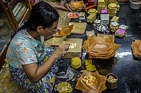 the process of producing all that gold leaf over many of the icons around the country is a very manual and labour intensive process in Mandalay, Burma.