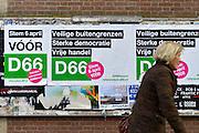 Nederland, the netherlands, Nijmegen, 9-3-2016Affiches van D66 met het advies, de oproep, om JA te stemmen  bij het oekraine-referendum. Het gaat om een handelsverdrag met de eu.political party D66 advises the voters to vote YES at the referendum on the treaty with the Ukraine.FOTO: FLIP FRANSSEN/ HH