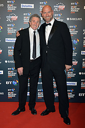 Pictured are Jonathan Davies and Lawrence Dallagio.<br /> <br /> BT Sport Industry Awards 2014 at Battersea Evolution, London, UK.<br /> <br /> Thursday, 8th May 2014. Picture by Ben Stevens / i-Images
