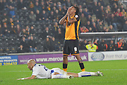 Hull City striker Abel Hernandez in dispair at missing his shot at gola during the Capital One Cup Fourth Round match between Hull City and Leicester City at the KC Stadium, Kingston upon Hull, England on 27 October 2015. Photo by Ian Lyall.